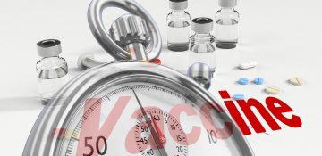 vaccine, stopwatch, syringe